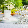 Beautifully served table in a summer pavilion — Stock Photo #11654452