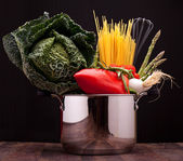 Pot With Vegetables And Pasta — Stock Photo