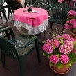 Outdoor Table And Flowers — 图库照片
