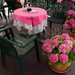 Outdoor Table And Flowers - Stock Photo