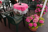 Outdoor Table And Flowers — Stock Photo