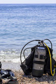 Oxygen tank and diving gear — Stock Photo