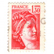 Old red french stamp — Stock Photo