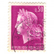 Old purple french stamp — Stock Photo