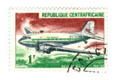 Central african stamp with airplane — Stock Photo