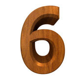 3d number 6 in wood — Stock Photo