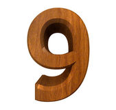 3d number 9 in wood — Stock Photo