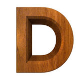 3d letter D in wood — Stock Photo