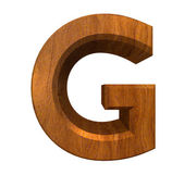 3d letter G in wood — Stock Photo
