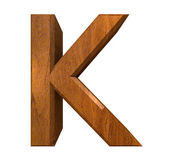 3d letter K in wood — Stock Photo