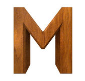 3d letter M in wood — Stock Photo