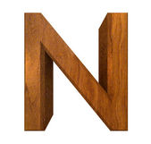 3d letter N in wood — Stock Photo