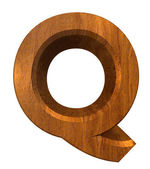 3d letter Q in wood — Stock Photo