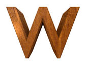 3d letter w in wood — Stock Photo