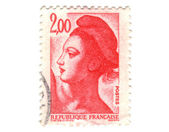Old red french stamp — 图库照片
