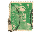 Old green french stamp — Stock Photo