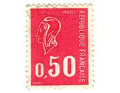 Gammal röd fransk stämpel — Stockfoto