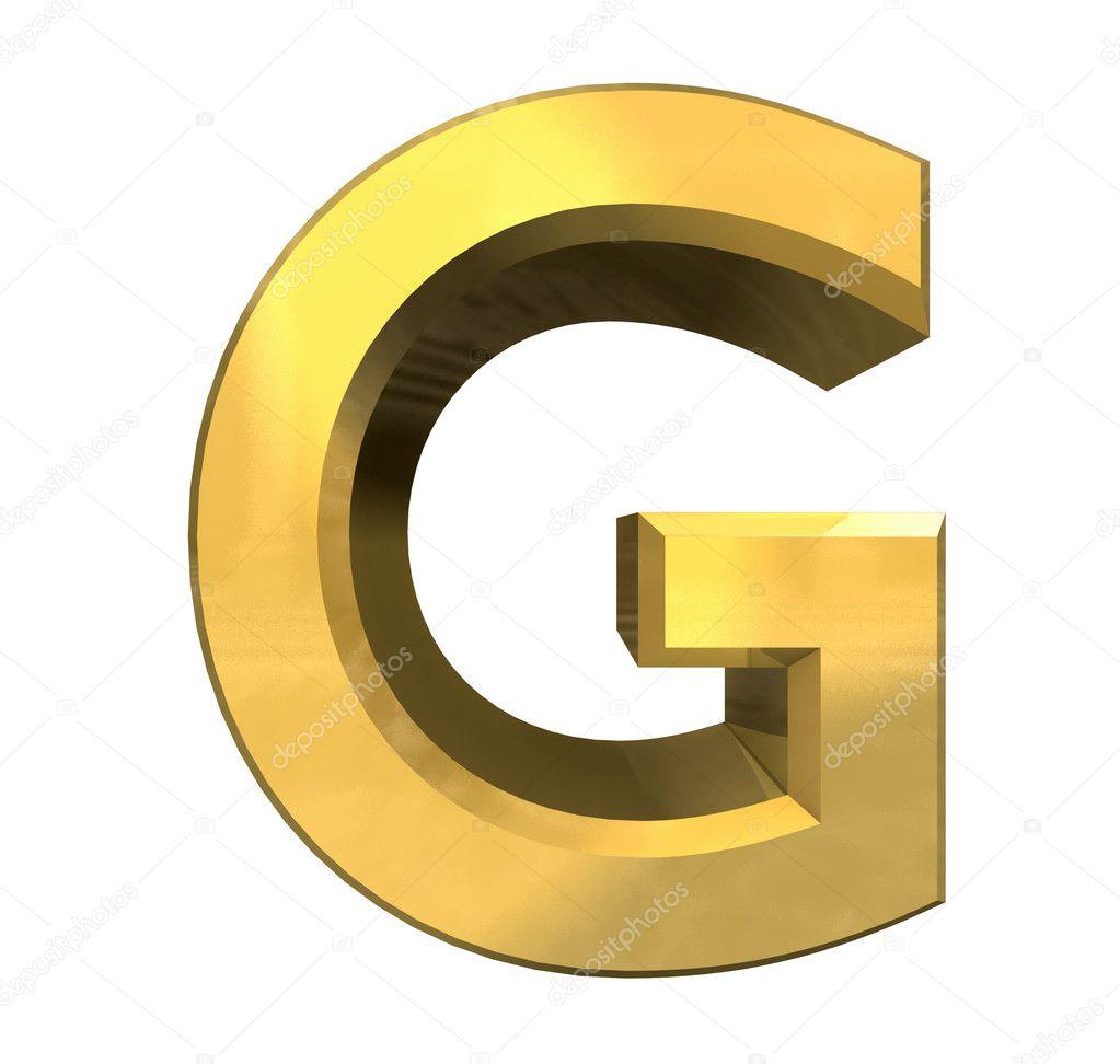 Gold 3d letter g stock image