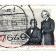 CIRCA 1985: stamp printed in Germany, shows portrait brothers Gr — Stock Photo