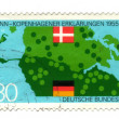 GERMANY - CIRCA 1989: A stamp printed in Germany shows map and f — Stock Photo