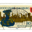 GERMANY - CIRCA 1985: stamp printed in Germany, shows old city, - Stockfoto