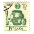 POLAND - CIRCA 1965: A stamp shows image of pottery, circa 1965 - Stock Photo