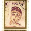 poland - circa 1971: a stamp printed in poland, shows frescoes f — Stock Photo