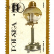 POLAND - CIRCA 1982: postage stamp shows vintage kerosene lamp, — Stock Photo