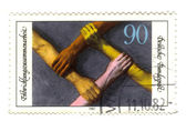GERMANY - CIRCA 1981: stamp printed in Germany, shows hand of th — Stock Photo