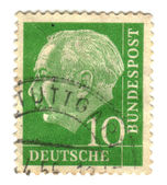 GERMANY-CIRCA 1955: a stamp printed in the Germany Theodor Heuss — 图库照片
