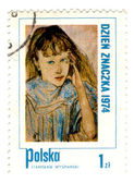 POLAND - CIRCA 1974: A Stamp printed in Poland shows children's — Stock Photo
