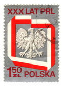 POLAND - CIRCA 1975: A stamp printed in Poland shows coat of arm — Stock Photo