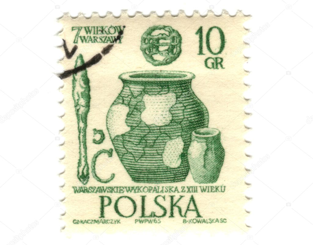 POLAND - CIRCA 1965: A stamp shows image of pottery, circa 1965  Stock Photo #11913437