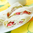 Rolls with crab sticks and pita bread - Stock Photo