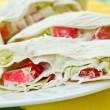 Rolls with crab sticks and pita bread — Stock Photo