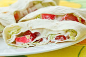 Rolls with crab sticks and pita bread — ストック写真