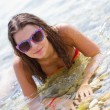 Girl in a clear sea — Stock Photo