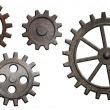 Rusty metal gears set isolated on white — Stockfoto