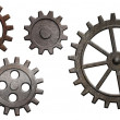 Rusty metal gears set isolated on white — Stock Photo