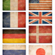 Collection of grunge flags: USA, Great Britain, Italy, France, D - Stock Photo