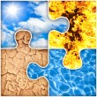 Four basic elements of nature puzzle : air, fire, earth, water — Stock Photo
