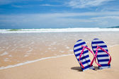Colorful flipflop pair on sea beach — Stok fotoğraf
