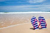 Flipflop colorata coppia sulla spiaggia del mare — Foto Stock