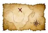 Mapa de tesouro de piratas com local marcado — Foto Stock