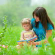 Mother and daughter reading book together outdoor — Stock Photo