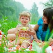 Stock Photo: Mother and daughter have picnic eating healthy food outdoor