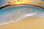 Deniz ya da okyanus plaj gün batımı — Stok fotoğraf
