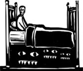 Monsters under bed — Stock Vector
