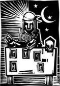 Gypsy Tarot Card Reading A — Stock Vector