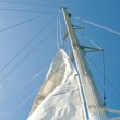 White yacht sails against the blue sky of tropical — Stock Photo